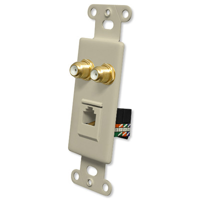 OEM Systems Pro-Wire Combo Jack Plate (2 F, 1 RJ45), Ivory