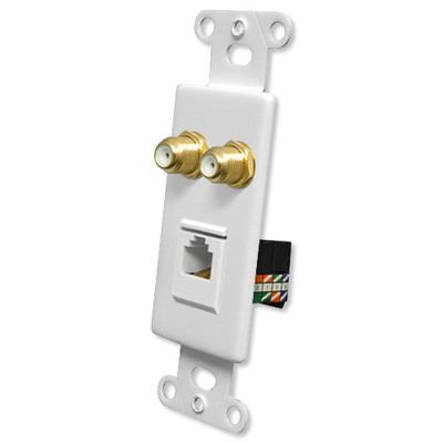 OEM Systems Pro-Wire Combo Jack Plate (2 F, 1 RJ45), White