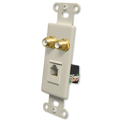 OEM Systems Pro-Wire Combo Jack Plate (2 F, 1 RJ11), Almond