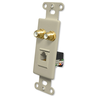 OEM Systems Pro-Wire Combo Jack Plate (2 F, 1 RJ11), Ivory