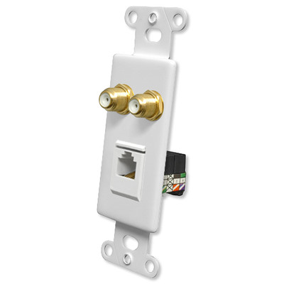 OEM Systems Pro-Wire Combo Jack Plate (2 F, 1 RJ11), White