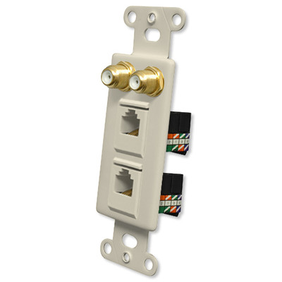 OEM Systems Pro-Wire Combo Jack Plate (2 F, 2 RJ45), Almond