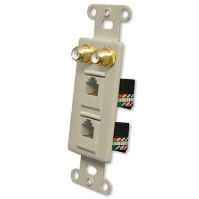 OEM Systems Pro-Wire Combo Jack Plate (2 F, 2 RJ45), Ivory