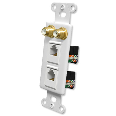 OEM Systems Pro-Wire Combo Jack Plate (2 F, 2 RJ45), White
