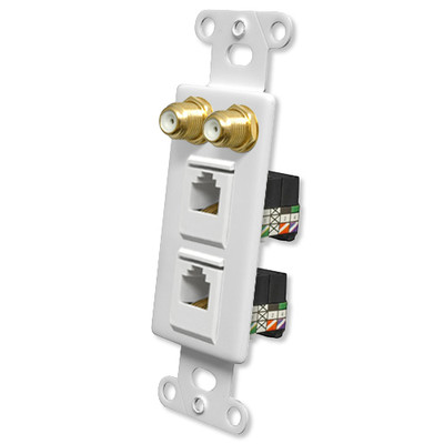 OEM Systems Pro-Wire Combo Jack Plate (2 F, 2 RJ11), White