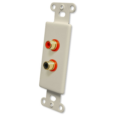 OEM Systems Pro-Wire Jack Plate (2 RCA), Almond