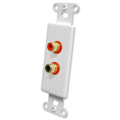 OEM Systems Pro-Wire Jack Plate (2 RCA), White
