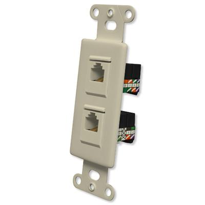 OEM Systems Pro-Wire Combo Jack Plate (1 RJ11, 1 RJ45), Ivory