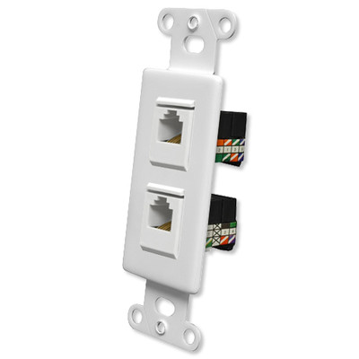 OEM Systems Pro-Wire Combo Jack Plate (1 RJ11, 1 RJ45), White