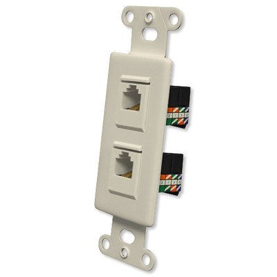 OEM Systems Pro-Wire Jack Plate (2 RJ45), Almond