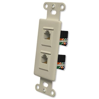 OEM Systems Pro-Wire Jack Plate (2 RJ45), Ivory