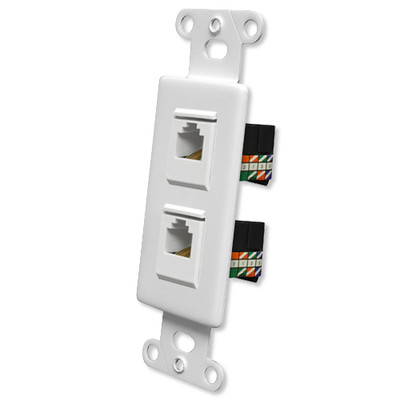 OEM Systems Pro-Wire Jack Plate (2 RJ45), White
