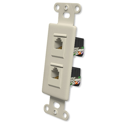 OEM Systems Pro-Wire Jack Plate (2 RJ11), Almond