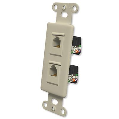 OEM Systems Pro-Wire Jack Plate (2 RJ11), Ivory