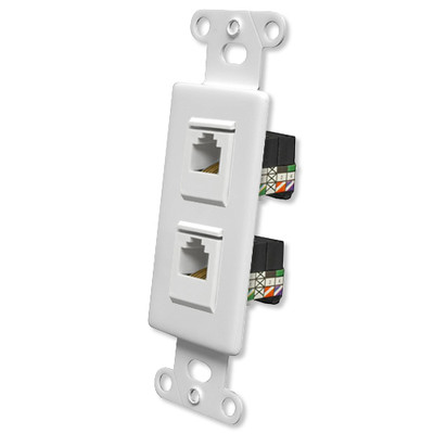 OEM Systems Pro-Wire Jack Plate (2 RJ11), White