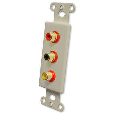 OEM Systems Pro-Wire Jack Plate (3 RCA), Ivory