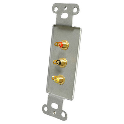 OEM Systems Pro-Wire Jack Plate (3 RCA), White