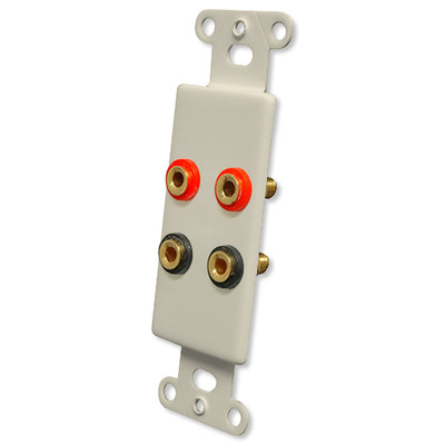 OEM Systems Pro-Wire Jack Plate (4 Banana Jacks), Almond