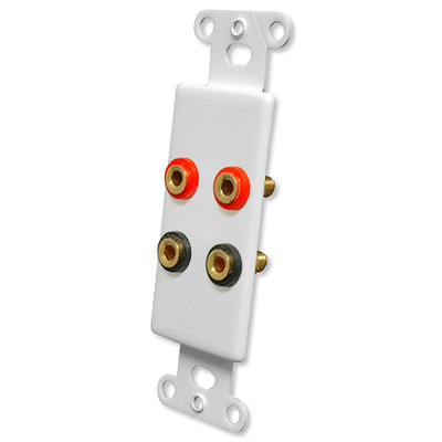 OEM Systems Pro-Wire Jack Plate (4 Banana Jacks), White