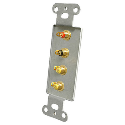 OEM Systems Pro-Wire Jack Plate (4 RCA), White