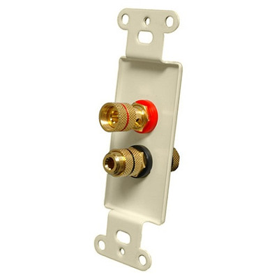OEM Systems Pro-Wire Jack Plate (Solderless 2 Binding Posts), Almond