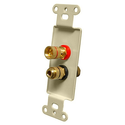 OEM Systems Pro-Wire Jack Plate (Solderless 2 Binding Posts), Ivory