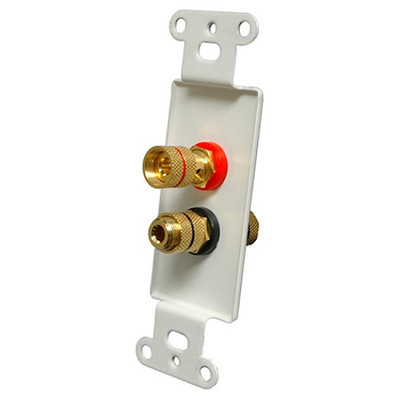 OEM Systems Pro-Wire Jack Plate (Solderless 2 Binding Posts), White
