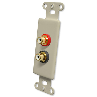 OEM Systems Pro-Wire Jack Plate (Solderless 2 RCA), Ivory
