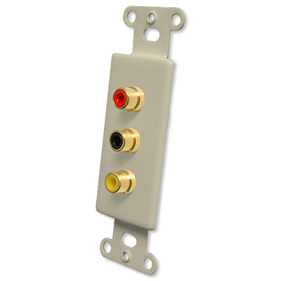 OEM Systems Pro-Wire Jack Plate (Solderless 3 RCA), Ivory