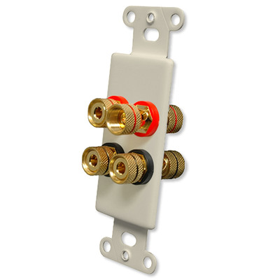 OEM Systems Pro-Wire Jack Plate (Solderless 4 Binding Posts), Almond