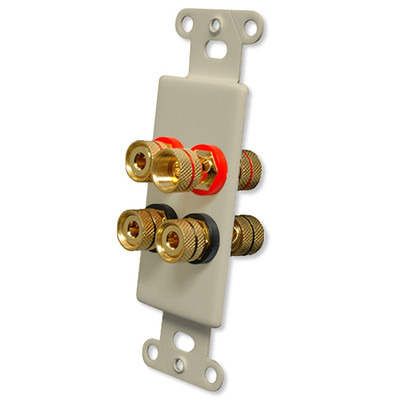 OEM Systems Pro-Wire Jack Plate (Solderless 4 Binding Posts), Ivory