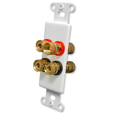 OEM Systems Pro-Wire Jack Plate (Solderless 4 Binding Posts), White