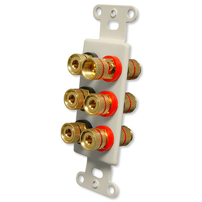 OEM Systems Pro-Wire Jack Plate (Solderless 6 Binding Posts), Almond
