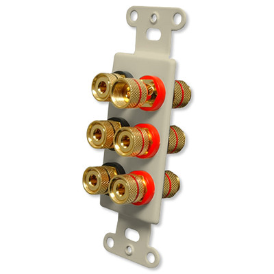 OEM Systems Pro-Wire Jack Plate (Solderless 6 Binding Posts), Ivory