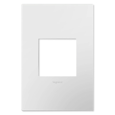 On-Q/Legrand Adorne Wallplate, 1-Gang, Gloss White-on-White