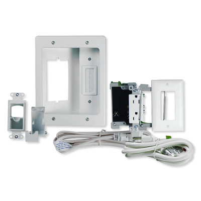 On-Q/Legrand Flat Screen TV Pro Power and Cable Management Kit, White