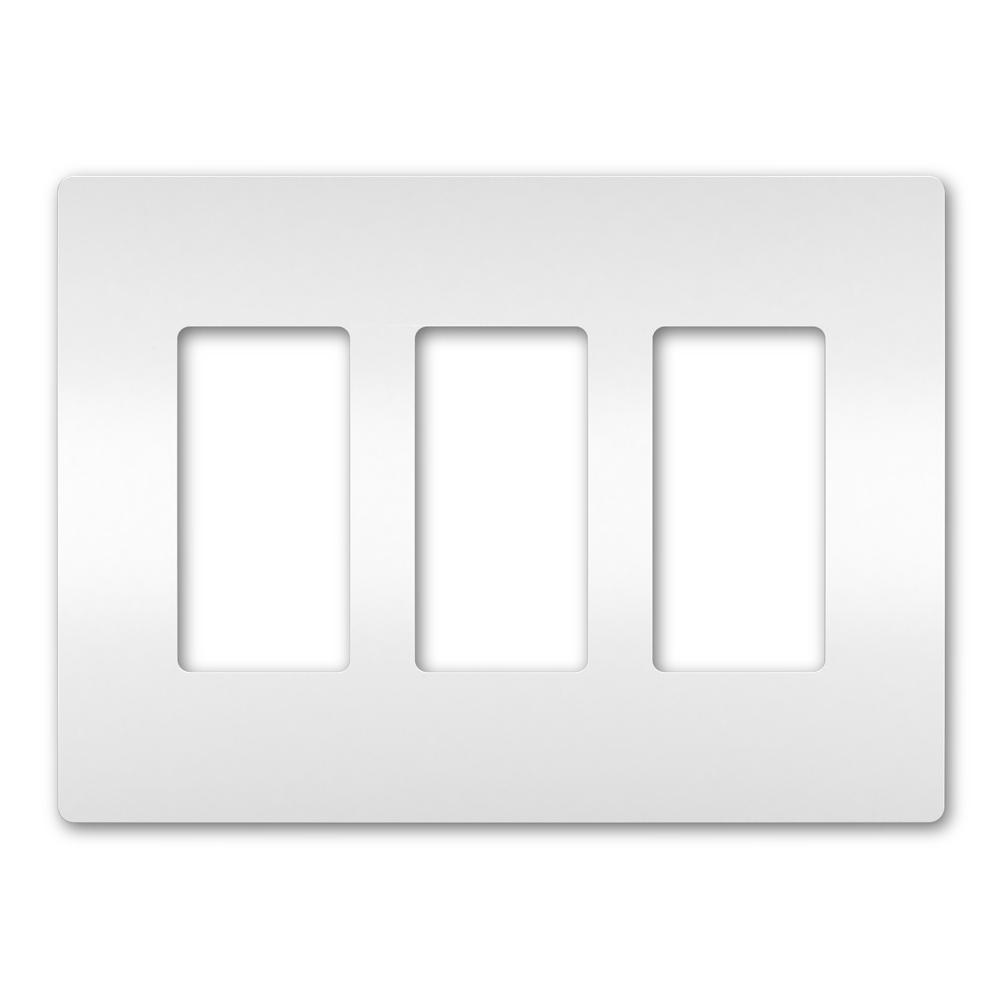 On-Q/Legrand Radiant Screwless Wallplate, 3-Gang, White