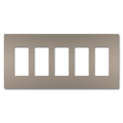 On-Q/Legrand Radiant Screwless Wallplate, 5-Gang, Nickel
