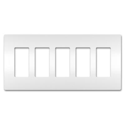 On-Q/Legrand Radiant Screwless Wallplate, 5-Gang, White