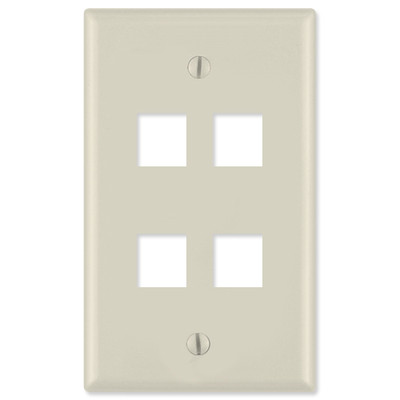 On-Q/Legrand Keystone Wallplate, 1-Gang, 4-Port