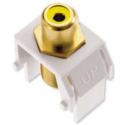 On-Q/Legrand RCA to F Keystone Snap-In Connector, Yellow Insert