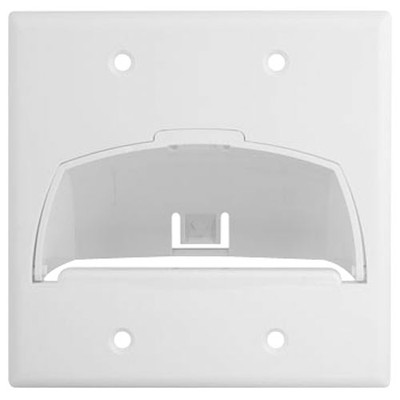 On-Q/Legrand Hinged Bullnose Cable Access Wallplate, 2-Gang