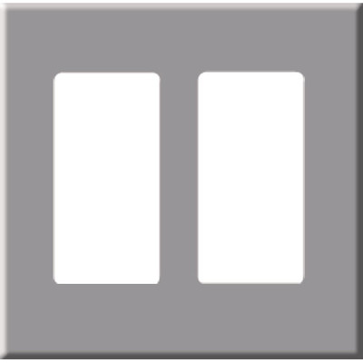 PCS Screwless Decorator Wallplate, 2-Gang, Gray