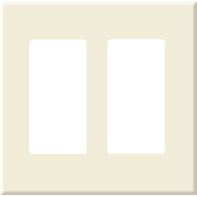 PCS Screwless Decorator Wallplate, 2-Gang, Light Almond