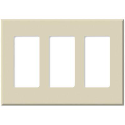 PCS Screwless Decorator Wallplate, 3-Gang, Almond