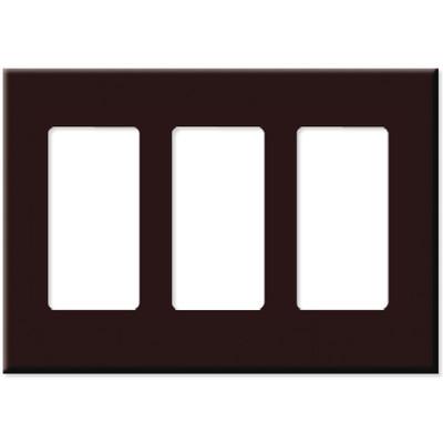 PCS Screwless Decorator Wallplate, 3-Gang, Brown