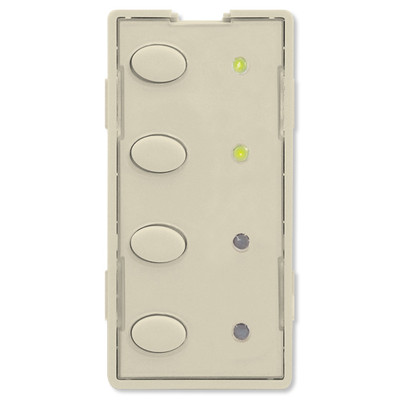 Simply Automated UPB Scene Controller Faceplate, 4 Oval Buttons, Almond