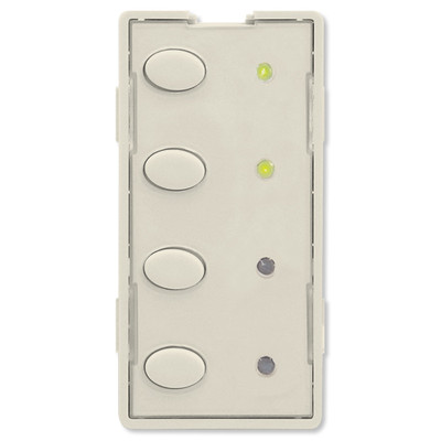 Simply Automated UPB Scene Controller Faceplate, 4 Oval Buttons, Light Almond