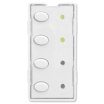 Simply Automated UPB Scene Controller Faceplate, 4 Oval Buttons, White