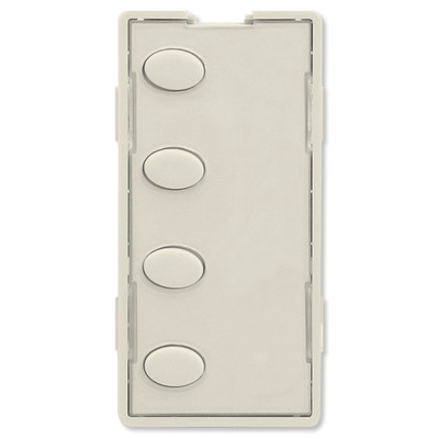 Simply Automated UPB Faceplate, 4 Oval Buttons, Light Almond